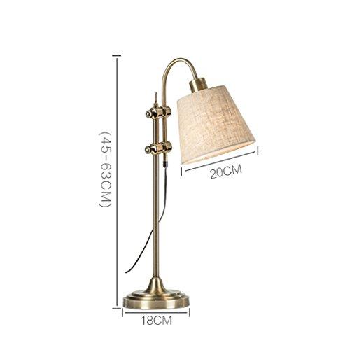 personnalité simple American Country Fer Forgé Table Lamp Chambre Lampe de chevet Noir (Couleur : Blanc)
