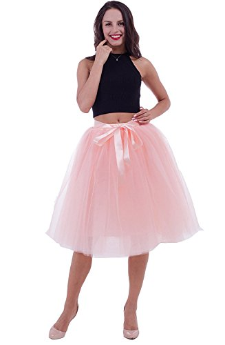 ock Tutu Prom Kleid Retro-Faltenrock Party Hochzeit Vintage Festlich Petticoat Pfirsich ()