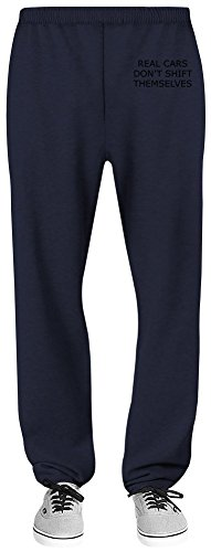 Real Cars Don't Shift Themselves Relaxed Jersey Pants - 70% Baumwolle, 30% Polyester - Hochwertige Sweatpants für Indoor & Outdoor Aktivitäten Large (Fit-shift Relaxed)