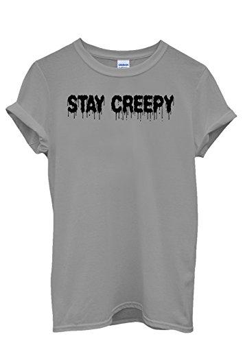 Stay Creepy Men Women Damen Herren Unisex Top T Shirt Grau
