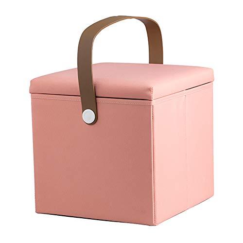 Lagerung Hocker LXF Klappbarer Freizeit-Fußhocker Ottomane, tragbare Aufbewahrungskoffer für Kinder, Flip Square Sofa-Bank, 30x30x30cm (Farbe : Pink)