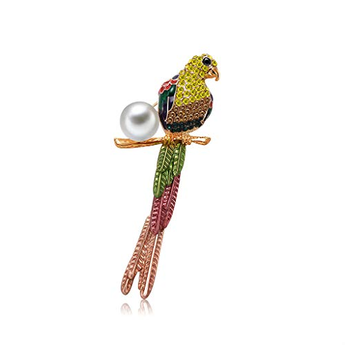 FlYHIGH Brooch Parrot Brooch Strass Moda Donna Gioielli Suit Perle Regali Antique Corpetto