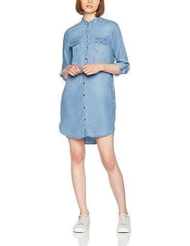VERO MODA Damen Kleid Vmsilla LS Short Dress LT BL GA Noos, Blau (Light Blue Denim), 40 (Herstellergröße: L)