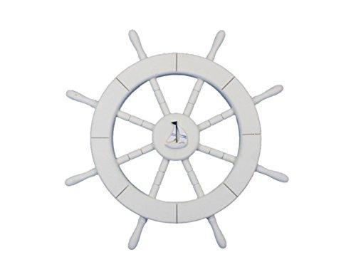 Rustikal hellblau und weiß Deko Schiff Rad mit Anker 45,7cm-Holz Schiff Rad-Schiffe Lenkung