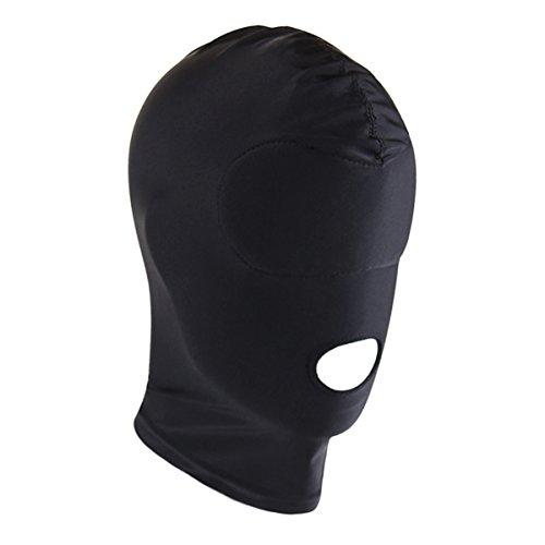 Maske Kopfmaske aus Stretchstoff Kopf Maske mit offenem Mund und Augen Augenbinde Augenmaske (One Size, Mund Öffnung) (Leder Gesicht Kostüm)