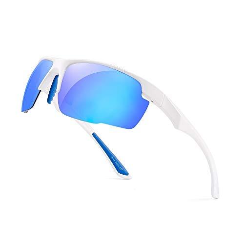 JIM HALO Polarisiert Sport Sonnenbrille Damen Herren Baseball Angeln Laufen Golf Radfahren Fahren Schatten(Weiß/Polarisierter Spiegel Blau)