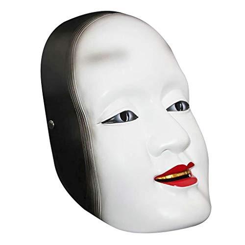 Bist Nächste Maske Du Kostüm - Huhu833 Halloween Maske, Neuheit Horrible Japanerin Mask gruselig Harz Maske Requisiten für Halloween Karneval Maskerade und Cosplay Kostüm Party (Weiß)