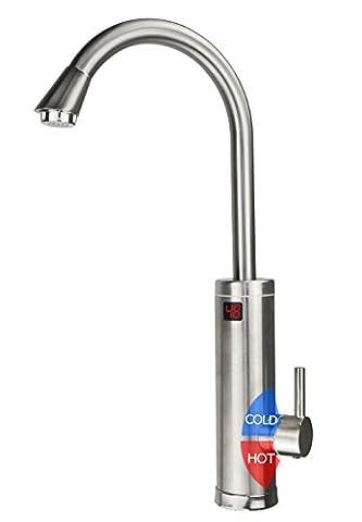 LUKO ALA-EF-01 PRO 220V 3kW Edelstahl Schale Elektrisch Heizgerät Küchenarmaturen,Heiß und Kalt Wasserhahn Elektrisch mit Temperatur Anzeigen für Küche,Badezimmer,Waschraum(EU-STANDARD