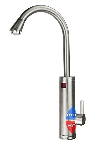 LUKO ALA-EF-01 PRO 220V 3kW Edelstahl Schale Elektrisch Heizgerät Küchenarmaturen,Heiß und Kalt Wasserhahn Elektrisch mit Temperatur Anzeigen für Küche,Badezimmer,Waschraum(EU-STANDARD Stecker) (Wand-bad-licht Nickel)
