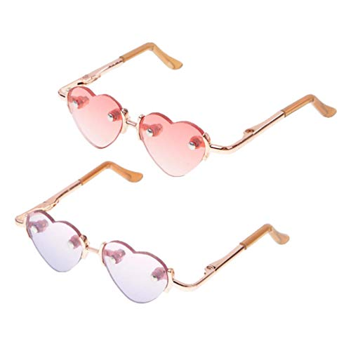 Fenteer 2 Paar Nettes Herzform Brillen Sonnenbrillen Für 1/3 BJD Dollfie Puppe Kleidung Zubehör (Blau & Pink)