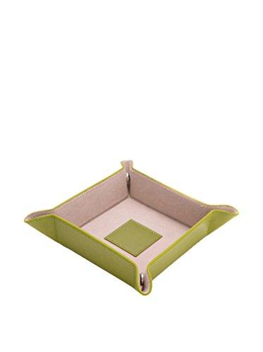 Bey Berk grün Lizard Print Leder Snap Valet Tablett mit Pig Haut Leder Futter - Grün Leder-snap