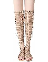 Zapatos de tallas grandes rodilla largo cañón cool botas con sandalias planas' las tiras transversales,Beige,42