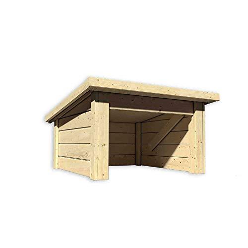 HORI® Garage für Mähroboter I Rasenmäher Garage/Carport aus Holz I Natur