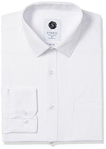 Symbol Men's Formal HerringBone Regular Fit Shirt (SYMHBONE137_White_40)