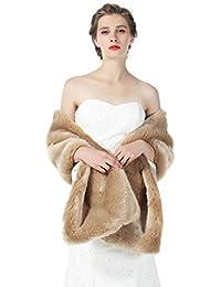 22f24dd40 BEAUTELICATE Estola Chal Pelo Mujer Boleros Mantón para Fiesta Bodas Novia  Invierno Vestido de Noche S76