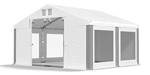 Das Company Transparente Fenster Partyzelt mit Bodenrahmen 3x4m wasserdicht weiß-grau Zelt 580g/m² PVC Plane Solide Gartenzelt Summer Floor SD/MS