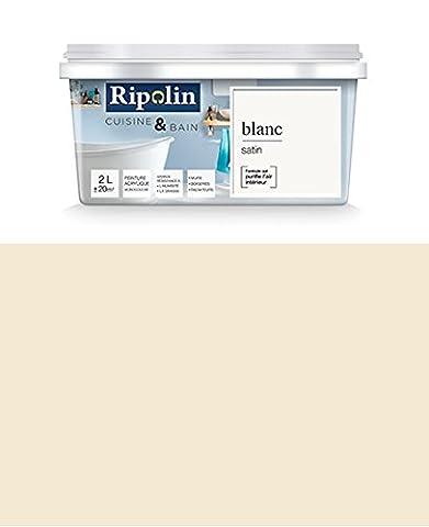 Ripolin - Peinture Esprit Déco Cuisine & Bain satin (Murs de cuisine et salle de bain) 2L Blanc cassé