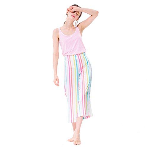 Pyjamas süße und bequeme Weste mehrfarbige Streifen breite Beinhose Hauskleidung zweiteiliges Set Pink