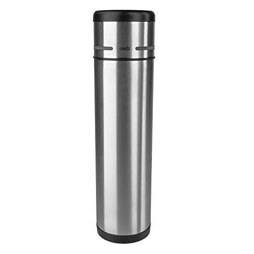 Emsa 509239 Isolierflasche, Mobil genießen, 1 l, Safe Loc Pro Verschluss, Schwarz-Anthrazit, Mobility