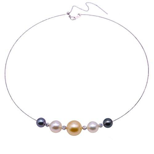 jyx Gorgeous 8,5–13,5mm Golden & Weiß Rund South Sea und Set Tahiti Perlen Gold Halskette ()
