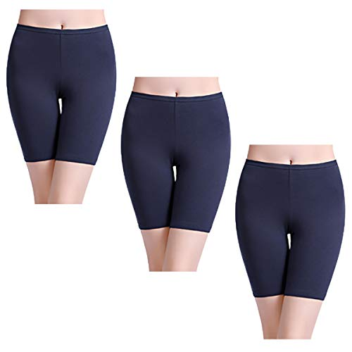 wirarpa Unterhosen Radlerhose Boxershorts Damen 3er Pack Hoher Bund Baumwolle Shorts Panties Lange Unterwäsche Navy Blau Größe 48 50 52