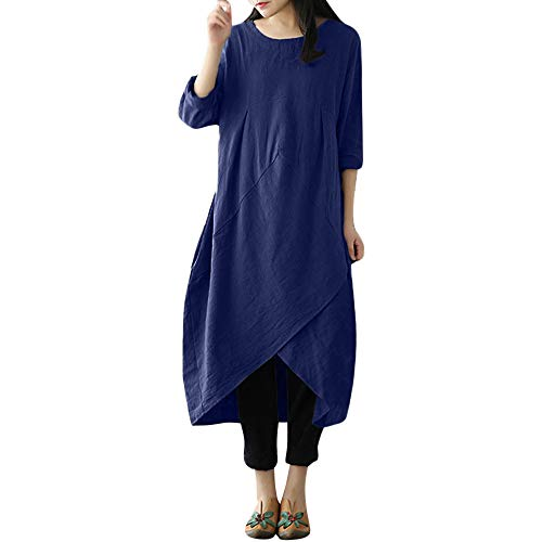 BaZhaHei Damen Kleider Mode Vintage Baggy Plus Größe Baumwolle Langarm Plain Casaul Übergroßes Maxi Langes Hemdkleid Beiläufige Shirt Lose Rundhals Tunika Freizeitkleid ()