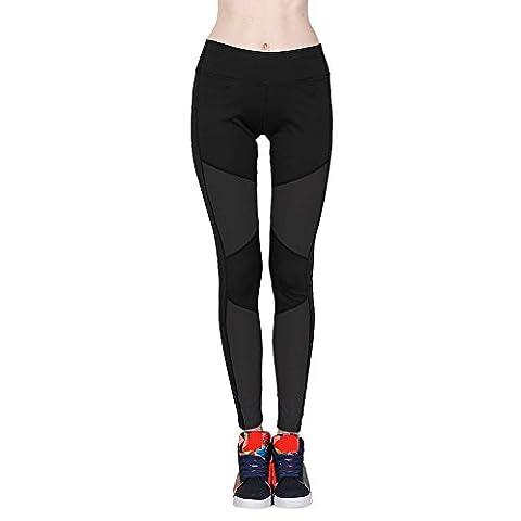 Loveso Yoga Pants Fitness Sport Gamaschen Patchwork Hohe Taillen Dünne Elasthan Yoga Hose (M 27, Schwarz)