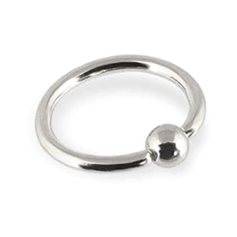 MsPiercing 14K Gold Captive Bead Ring, Gauge: 12 (2.0Mm), 14K White Gold, 3/8