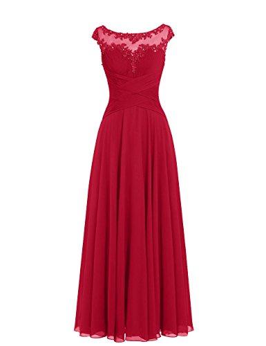 Dresstells Damen Lange Chiffon Ballkleider Brautjungfernkleider Abendkleider Dunkelrot Größe 36