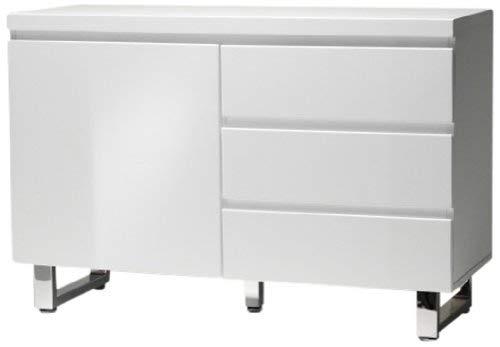 Robas Lund 48903W1 Sydney Sideboard, 1 Tür / 3 Schubkästen, Chromfüße, 111 x 74 x 42 cm, Hochglanz weiß