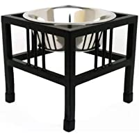 Pets Empire Pet Diner Elevated 1-Bowl Raised Dog Food Feeder Diner for Dogs and Cats Stainless Steel Food Bowl Water…