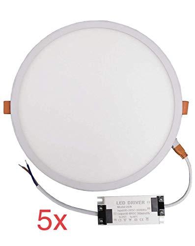 (LA) NOVEDAD!! 5x Panel LED redondo plano, 20w, CORTE AJUSTABLE (50-200mm) 1800...