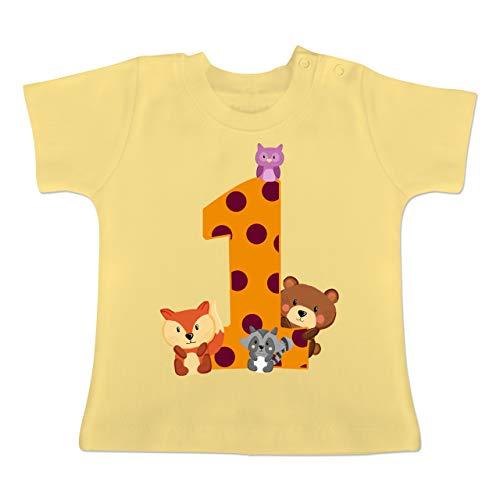 Geburtstag Baby - 1. Geburtstag Waldtiere - 12-18 Monate - Hellgelb - BZ02 - Baby T-Shirt Kurzarm (Mädchen T-shirt Monat)