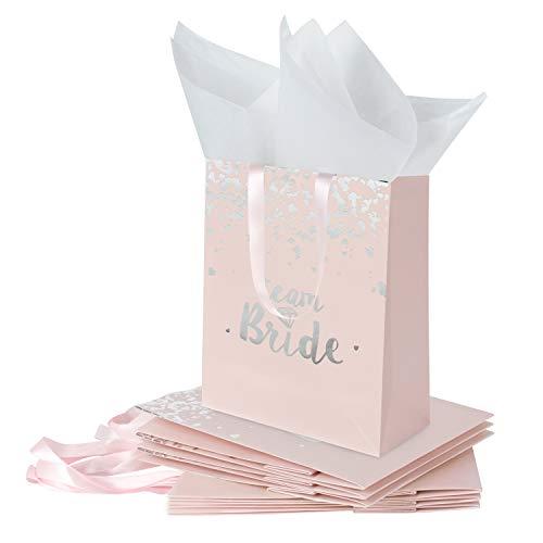 c54c0fe93e Loveinside Medium Kraft Gift Bags-Team Bride Sliver Foil Pink Bolsa de  Regalo de Papel