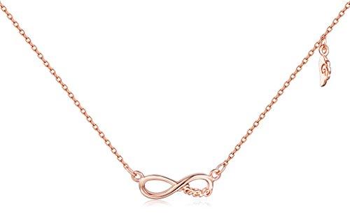 Unendlich U Fashion Unendlichkeit Symbol'Forever' Flügel Damen Halskette 925 Sterling Silber Anhänger Verstellbare Kette, Rosegold