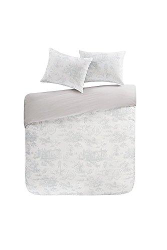URBAN HABITAT Double Duvet Set Cotton Bedding – Astoria Easeful Bed Linen 100 Cotton Duvet Cover Set, Village British Life Grey & White Duvet Cover and Pillowcase Set