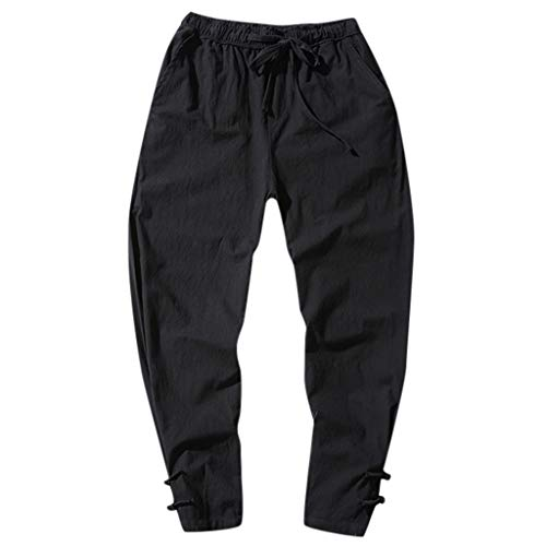 Rmoon elastico in vita pantaloni da jogging da uomo sportivi casual hip-hop danza pantaloni in esecuzione pantaloni autunno invernali pantaloni corti giapponesi (nero, l)