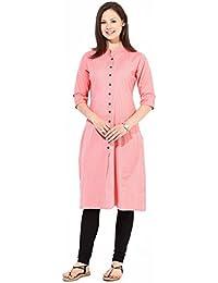 Dheylu Creation Women's Pure Cotton Plain / Solid Long Casual Kurti Size : XL Pink Colour