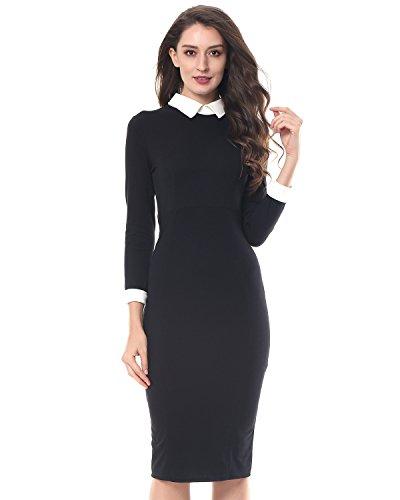 Kenancy Damen Elegant Etuikleid Weiß Kragen mit Kurzen Ärmeln Enge Abendkleid für Business Party Schwarz Blau S bis 2XL (M, Schwarz langarm) (Rücken Kleid Reißverschluss)