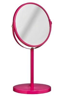 Premier Housewares Runder Kosmetikspiegel, drehbar, mit Ständer, 35x18x18cm, pink