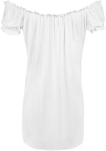WearAll - Haut long et froncé qui dégage les épaules - Hauts - Femmes - Grandes tailles 42 à 56 Blanc