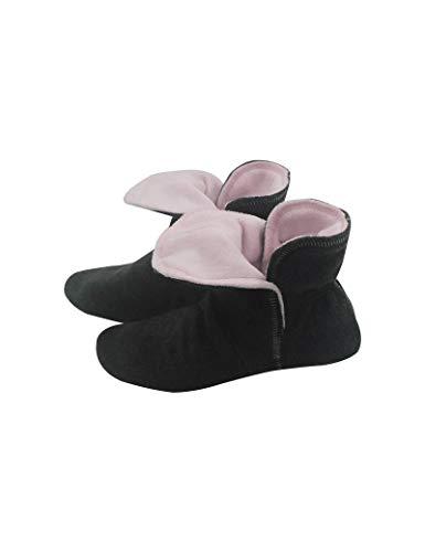 RAIKOU Hausschuhe für Damen, Herren für drinnen aus Micro Fleece mit ABS und Rutschfester Sohle,Haussocken Stoppersocken mit Super Flauschige Hüttenschuhe (Schwarz/Rosa,40/43)