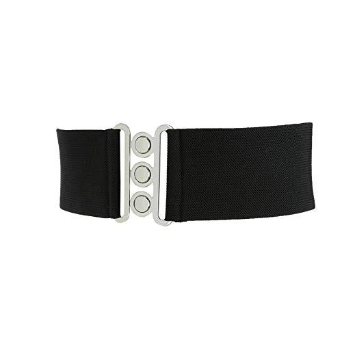 Fashiongen - Damen Breiter elastische gürtel, GLORIA, In Frankreich Hergestellt - Schwarz, Large / 40 bis 42 - Breite Gürtel