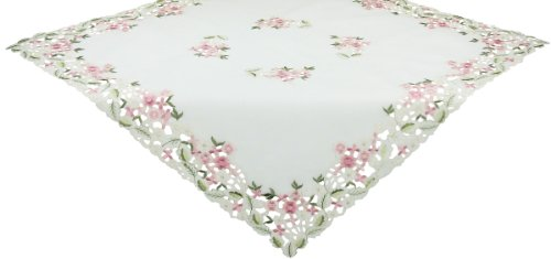Xia Home Fashions Fairy Garden Sheer Embroidered Cutwork Spring Table Topper, 36 by 36-Inch