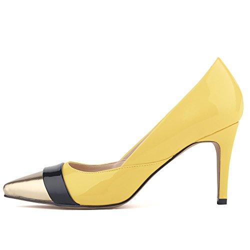 Aisun Damen Elegant Low Top Stiletto High Heels Spitz Metallic Zehen Pumps Gelb-1 41 EU