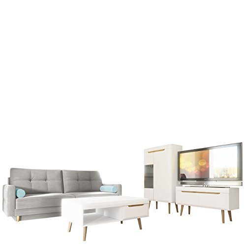 Wohnzimmer Set Nordi 7 + Sofa Oliver, Wohnzimmer Im Skandinavischen Stil.  Schlafsofa, Vitrine, TV Lowboard Und Couchtisch, Komplett (ohne  Beleuchtung, ...
