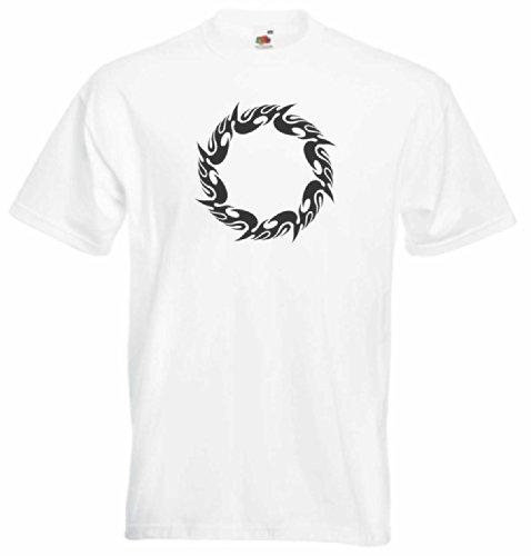T-Shirt Herren feuer Schüsse Weiß