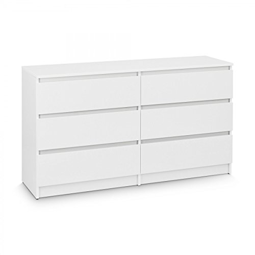 Kommode mit 6 Schubladen Sideboard Mehrzweckschrank Anrichte Diele Flur Esszimmer Wohnzimmer Weiß