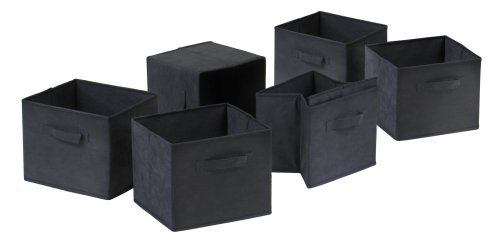 winsome-capri-set-of-6-foldable-fabric-baskets-black-by-winsome