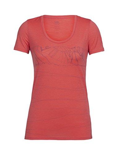 Icebreaker Damen Tech Lite SS Scoop Paths T-Shirt, Poppy Red, S -